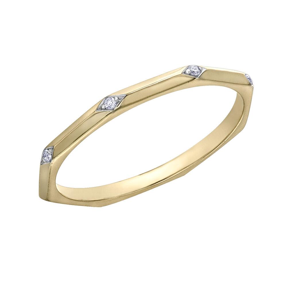 Bague pour femme - Or jaune 10K & Diamants