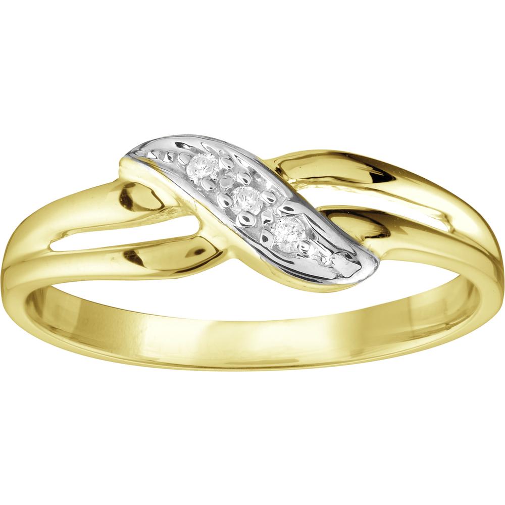 Bague pour dame sertis de diamants totalisant 0.03 Carat - en Or 10K 2-tons (jaune et  blanc)