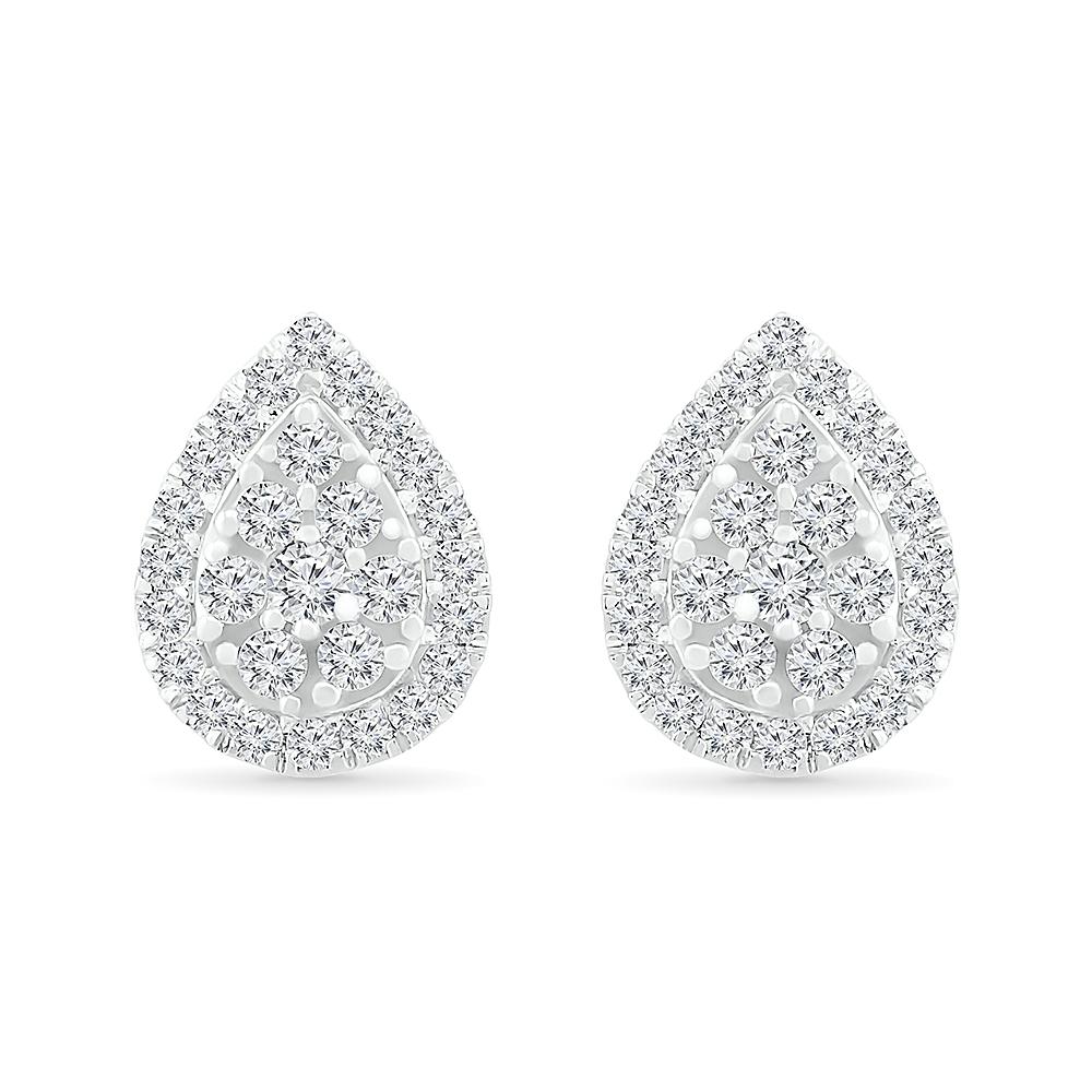 Boucles d'oreilles en forme de poire en or blanc 10k avec diamants totalisant 25 pts