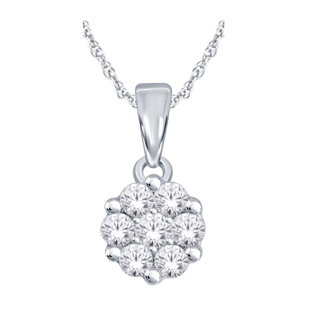 Pendentif fleur pour femme - Or blanc 10K & Diamants totalisant 25pts