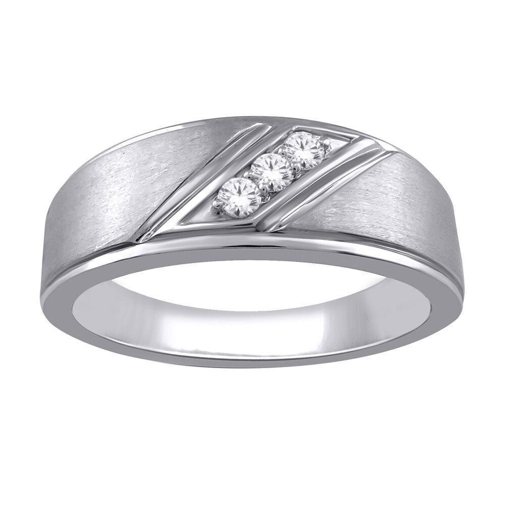 Jonc pour homme - or blanc 10K & diamants totalisant 10 pts
