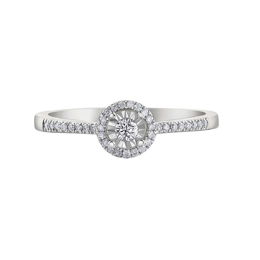 Engagement ring - 10K white gold & canadian diamonds T.W. 15 pts