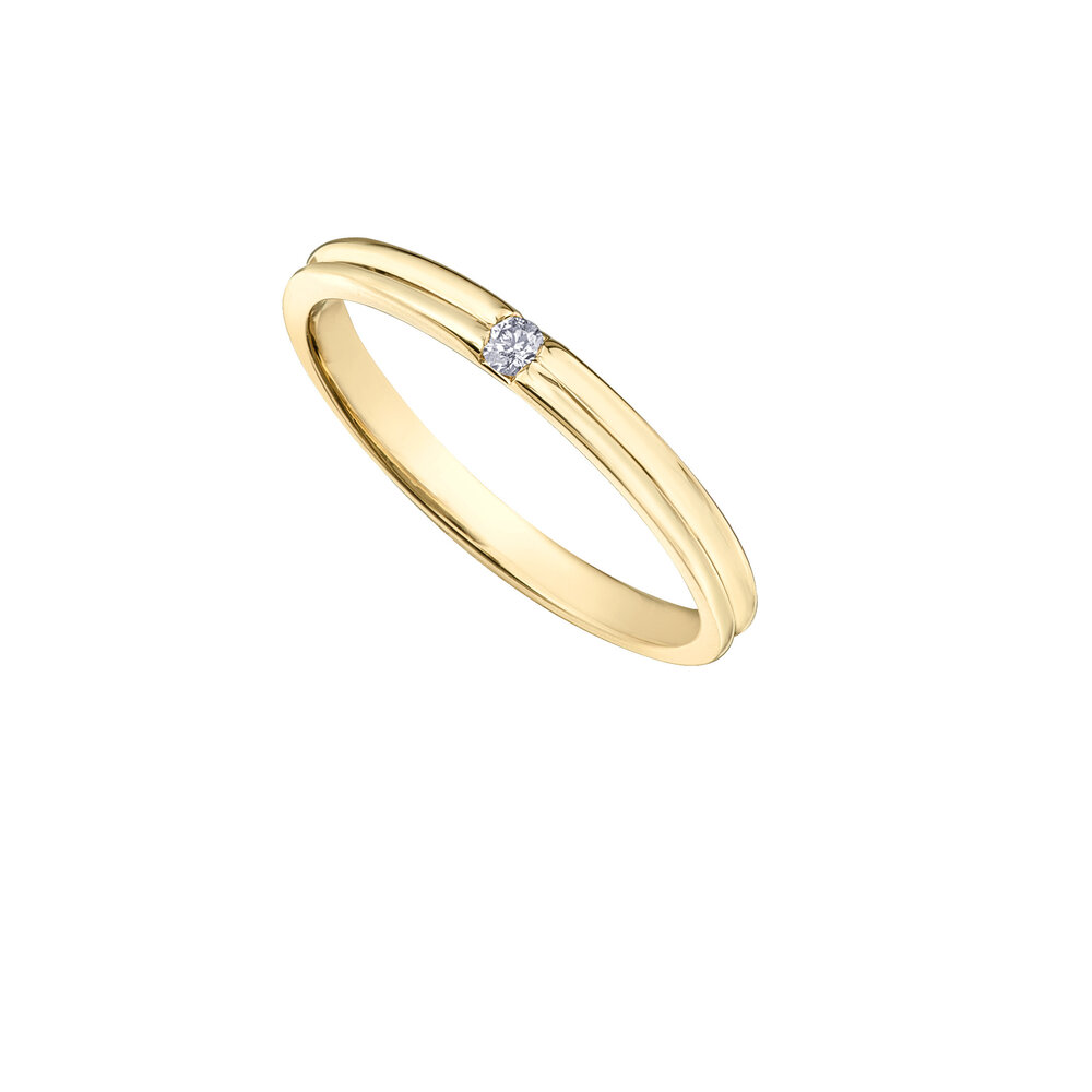 Band for man - 10K yellow Gold & Diamonds T.W. 4 pts