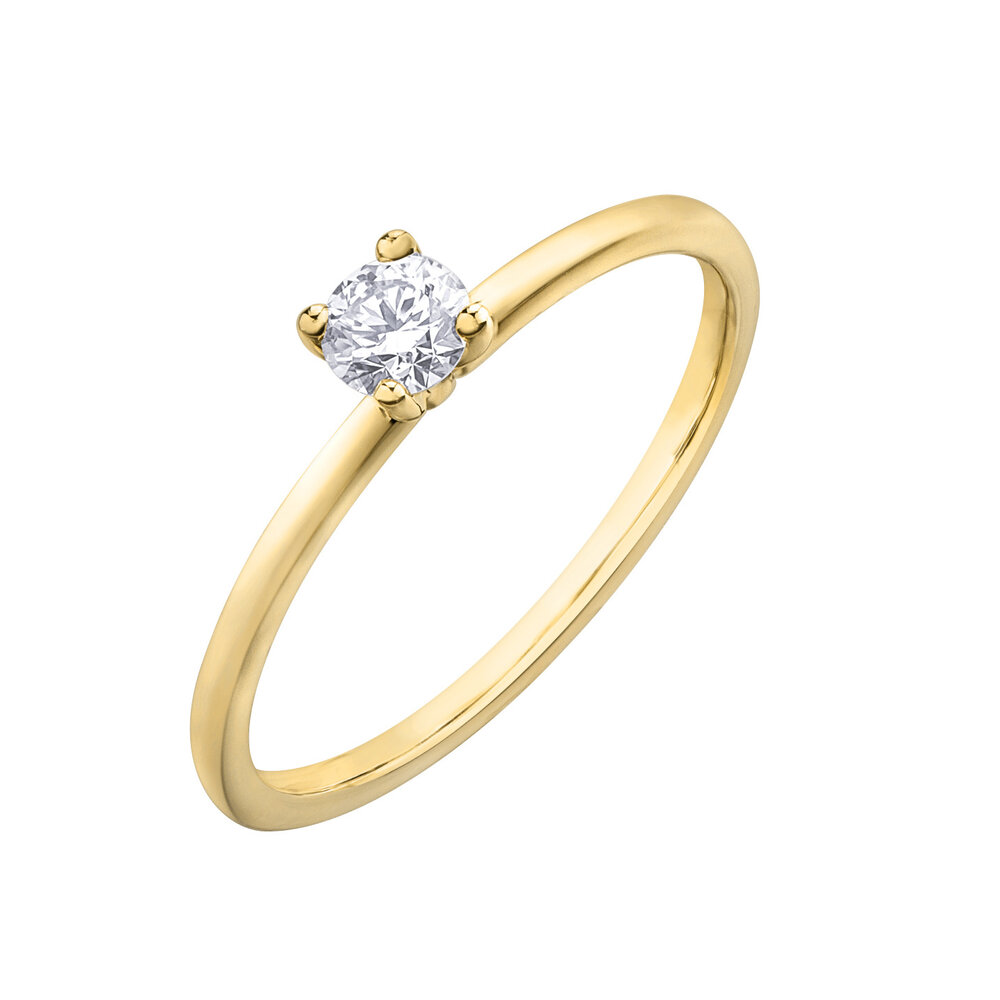 Éclat du Nord Solitaire ring - 10K yellow Gold & Diamonds T.W. 20 pts