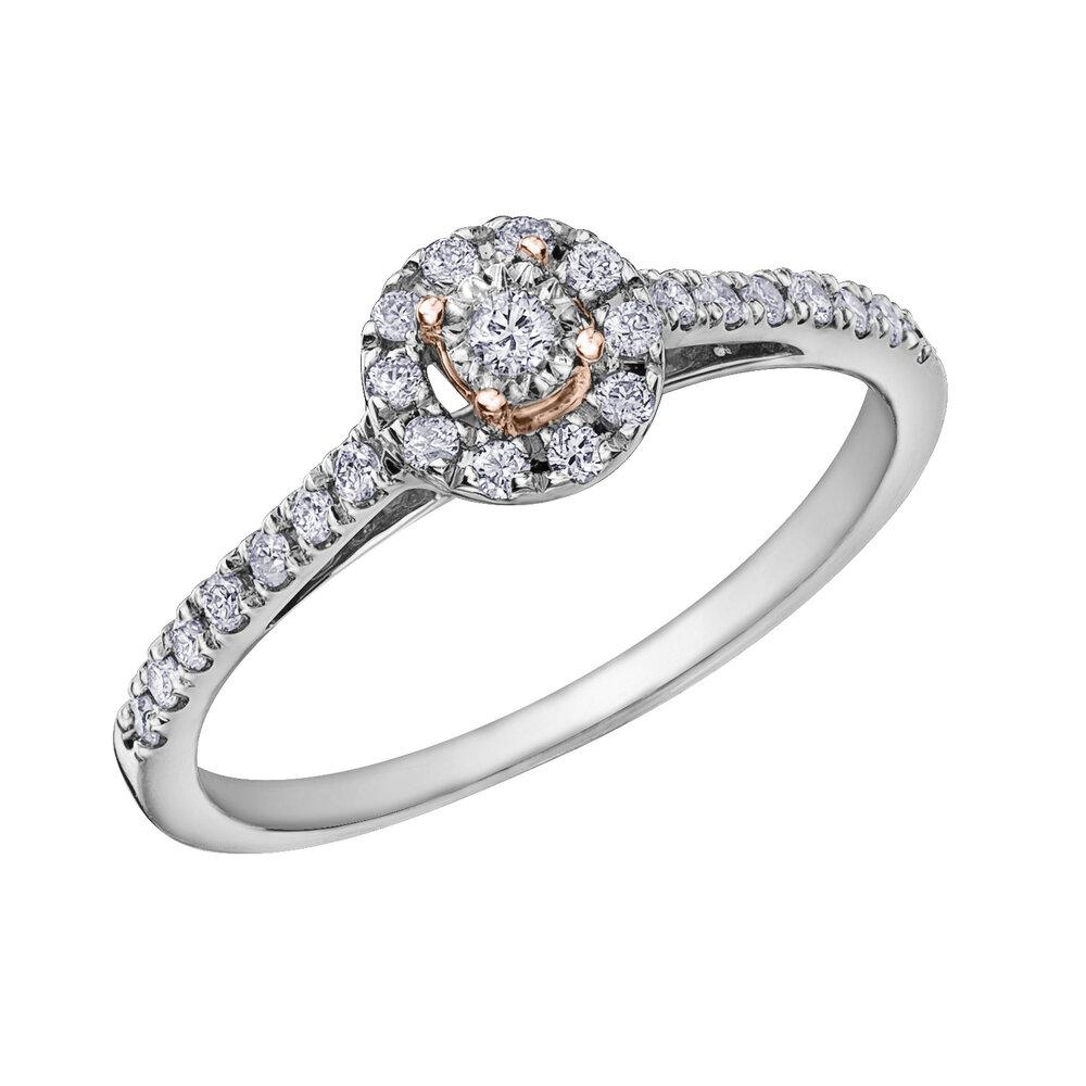 Éclat du Nord engagement ring for woman - 10K 2 tone gold & diamonds T.W. 23 pts