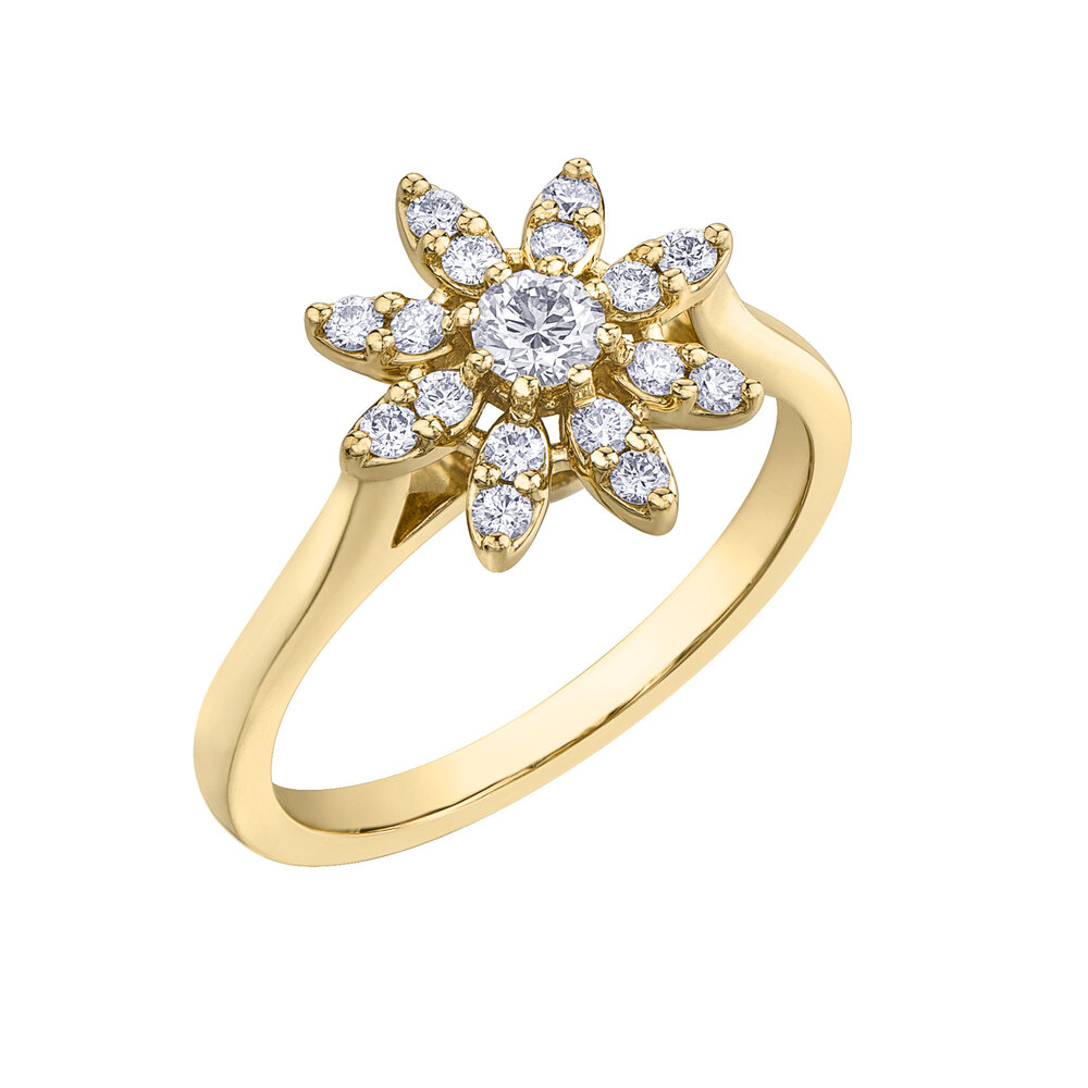 Éclat du Nord engagement ring for woman -10K yellow gold & Canadian diamonds T.W. 40pts