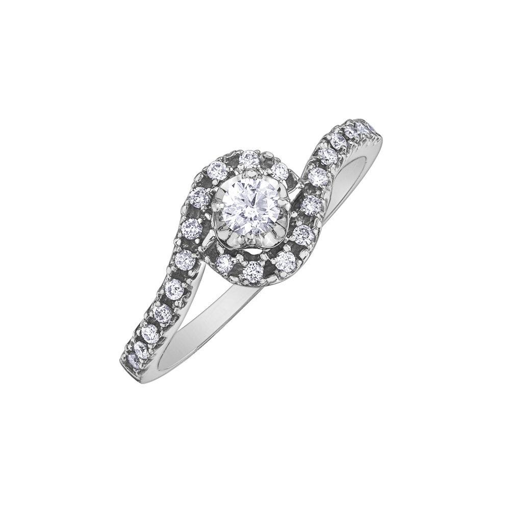 Bague de fiançailles Éclat du Nord pour femme - Or blanc 10K & Diamants Canadiens totalisant 33 pts