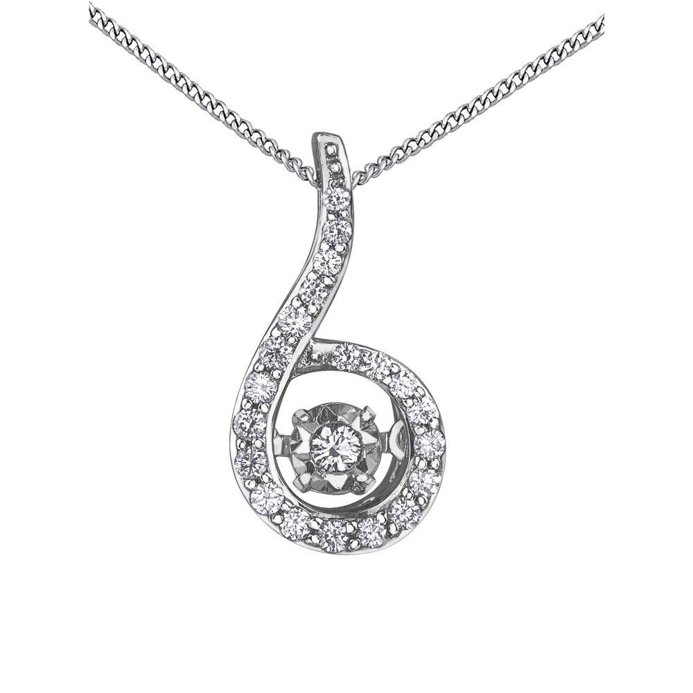 Éclat du Nord Dancing Diamond Pendant - 10K white gold & canadian diamond - 16'' necklace included