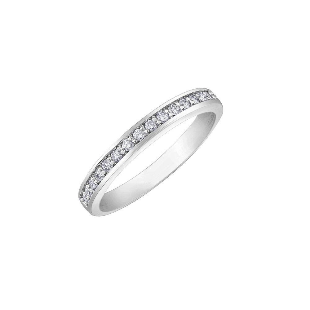 Éclat du Nord wedding band for woman - 10k white gold & canadian diamonds T.W. 20 pts