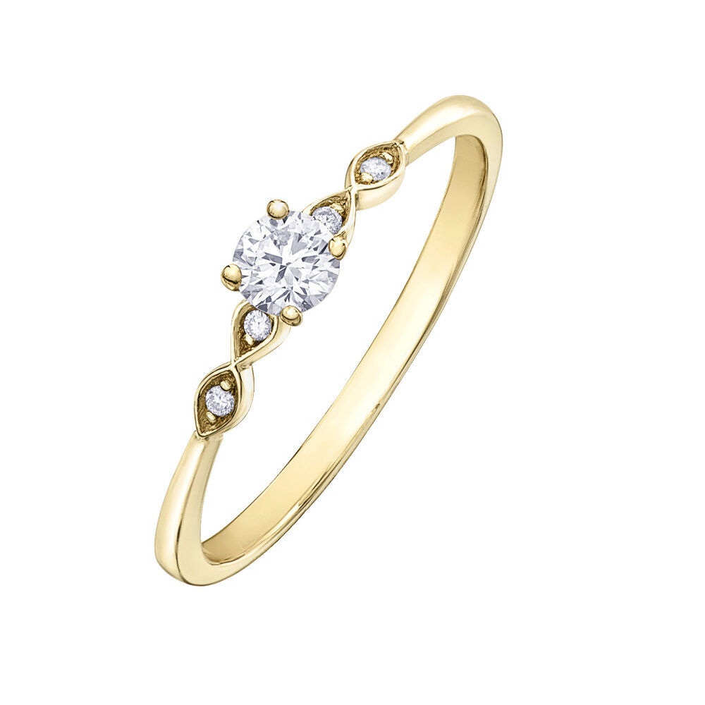 Engagement ring - 10K yellow gold & canadian diamonds T.W. 20 pts