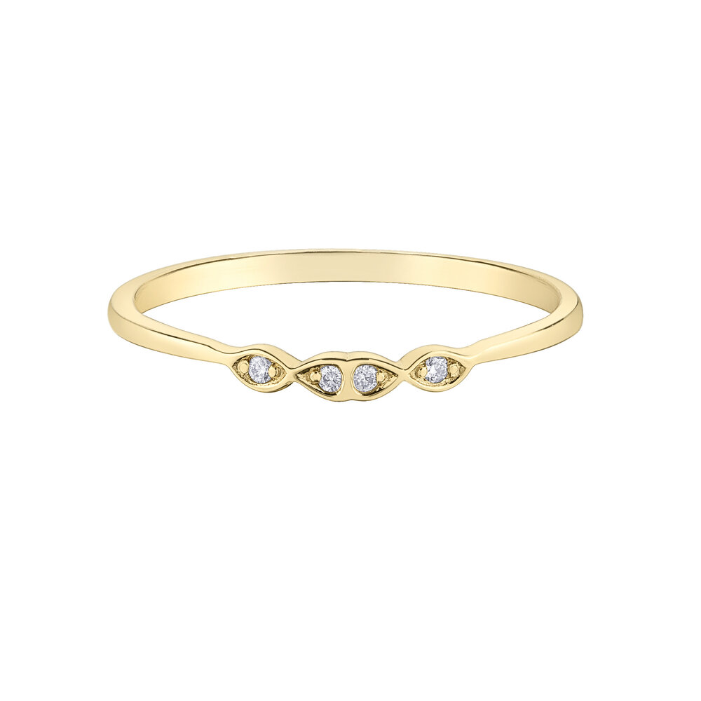 Éclat du Nord wedding band for woman - 10k yellow gold & canadian diamonds T.W. 2 pts
