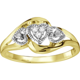 Heart ring with diamonds 0.04 Carat T.W. - in 10K 2-tone gold (yellow and white)