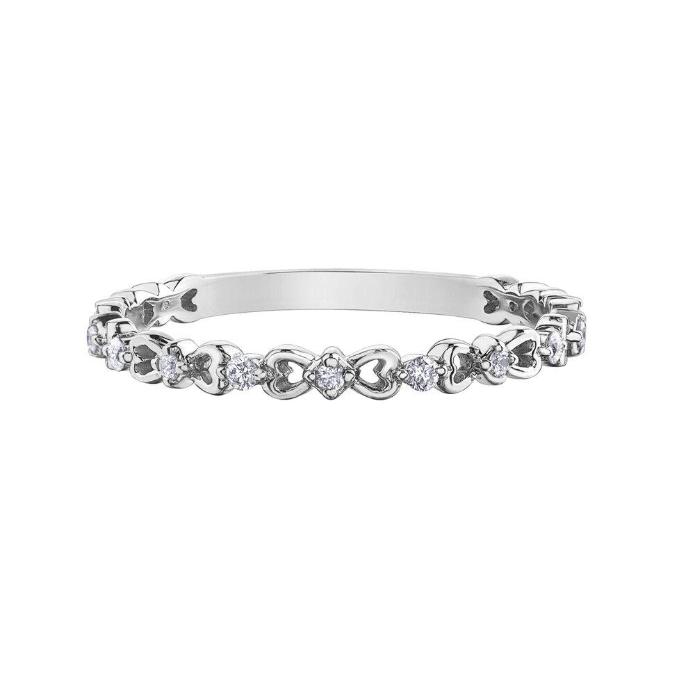 Bague pour femme - or blanc 10K & diamants totalisant 7 pts