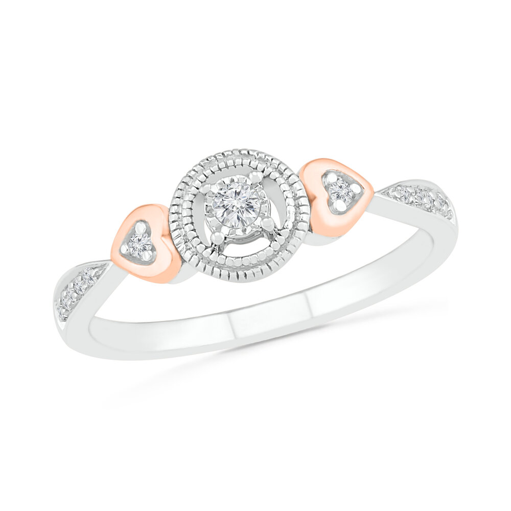 Ring for women, sterling silver .925 and 10K rose Gold & Diamonds T.W. 10 pts