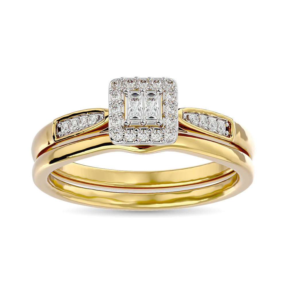 Engagement set for woman - 10K yellow gold & diamonds T.W. 17 pts