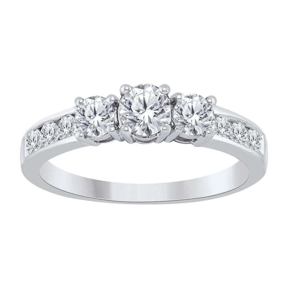 Bague pour femme - or blanc 10K & diamants totalisant 1.00 Carat