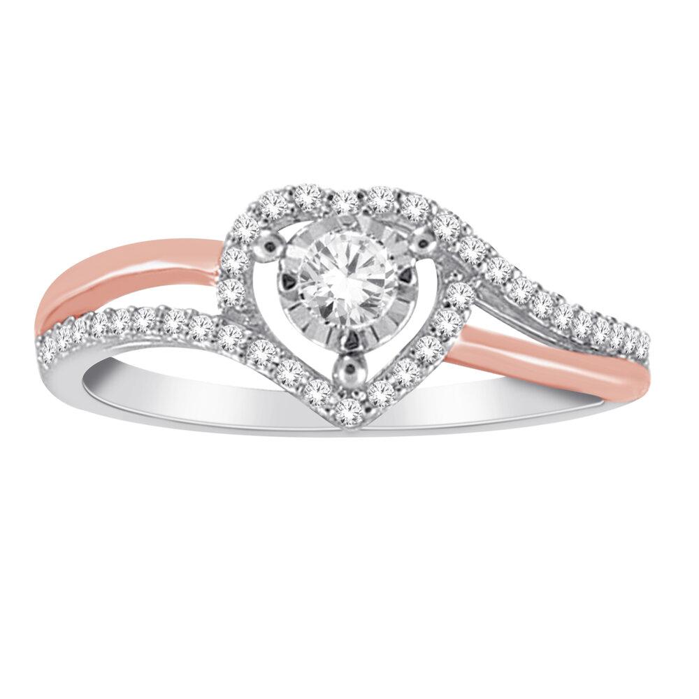 Bague coeur pour femme - Or blanc et rose 10K & Diamants totalisant 25 pts