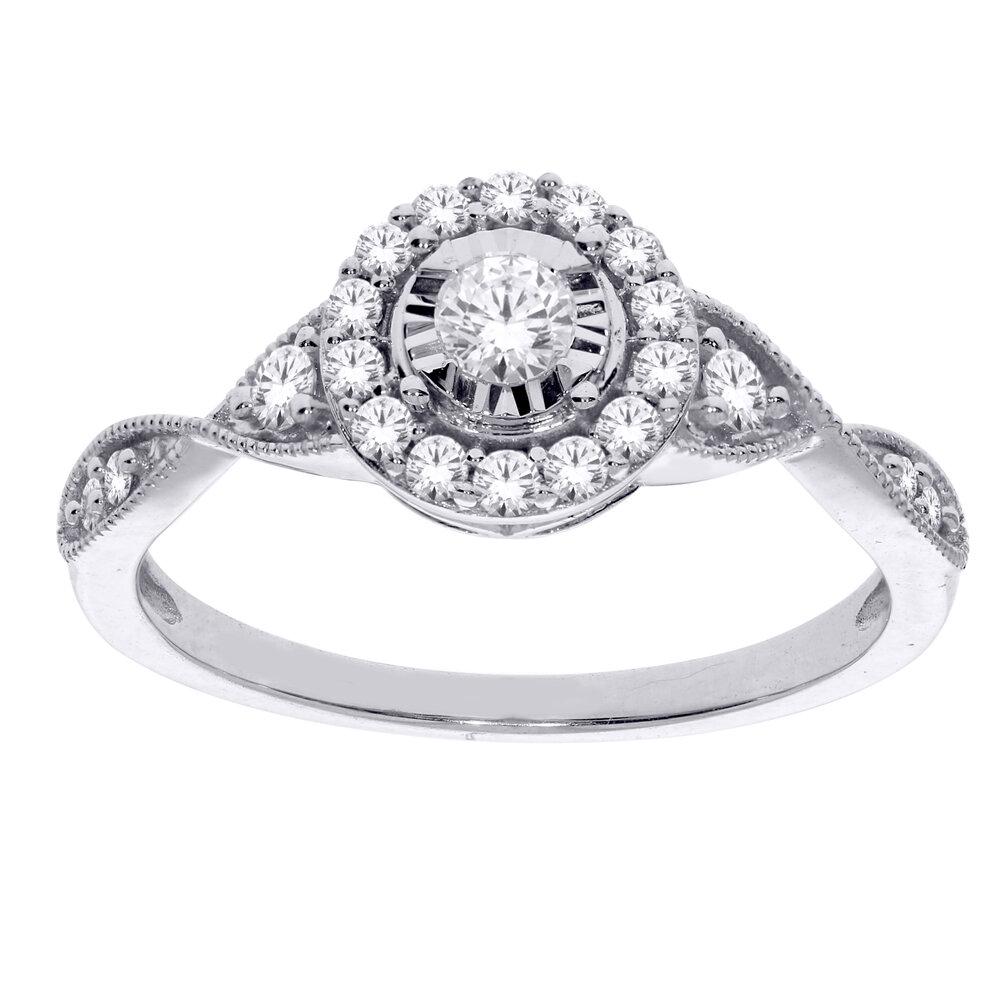 Bague pour femme - or blanc 10K & diamants totalisant 33 pts