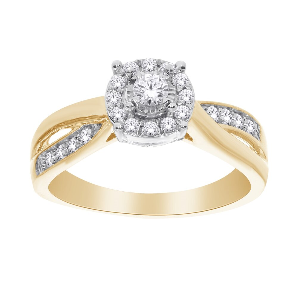 Ring for women - 10K yellow gold & diamonds T.W. 33 pts