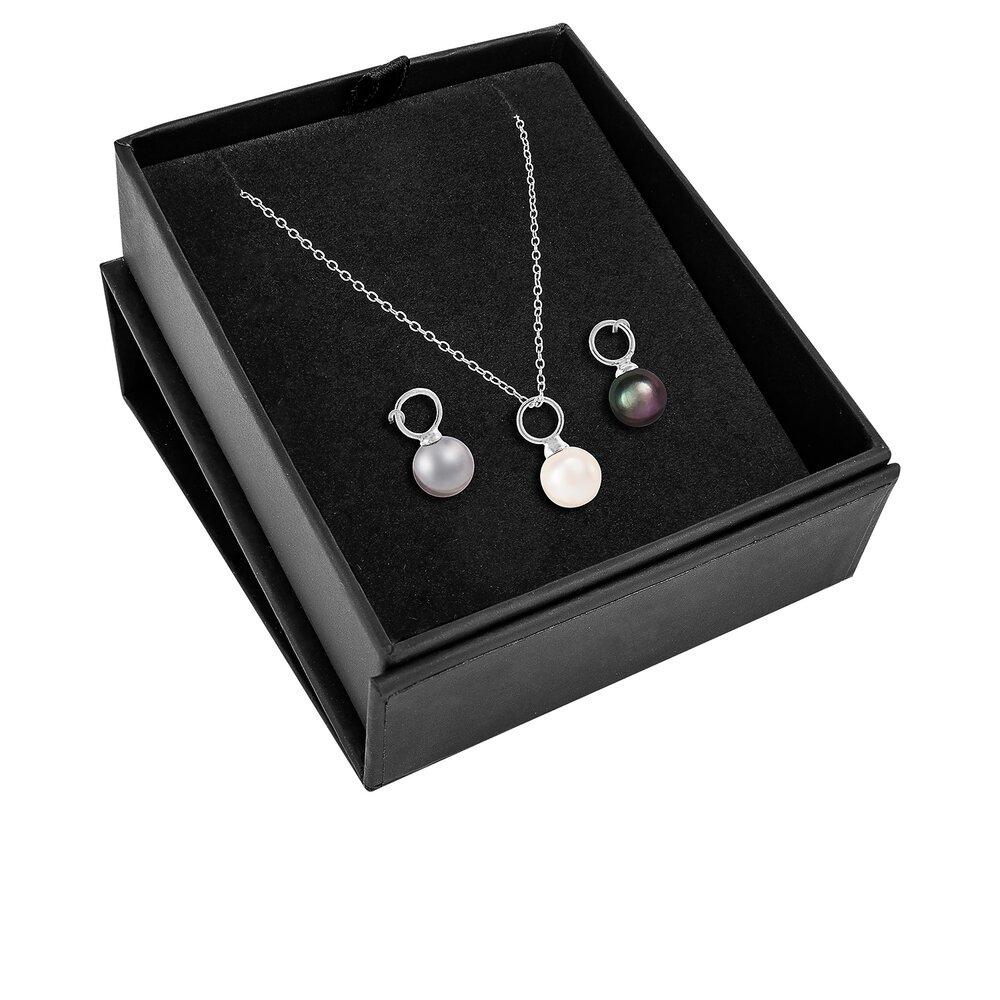 Ensemble de 3 pendentifs en perles 6-7 mm avec chaîne 18