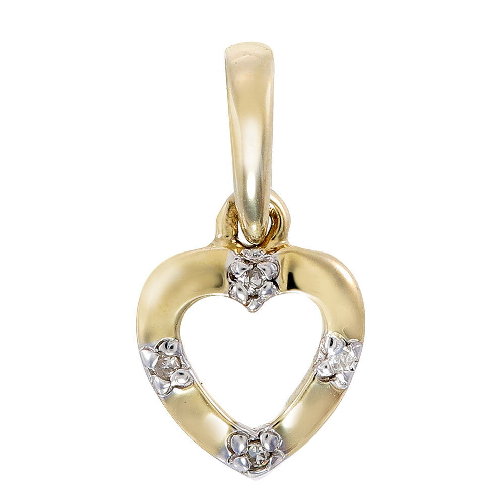 Heart pendant with diamond T.W. 2pts - in 10K yellow gold