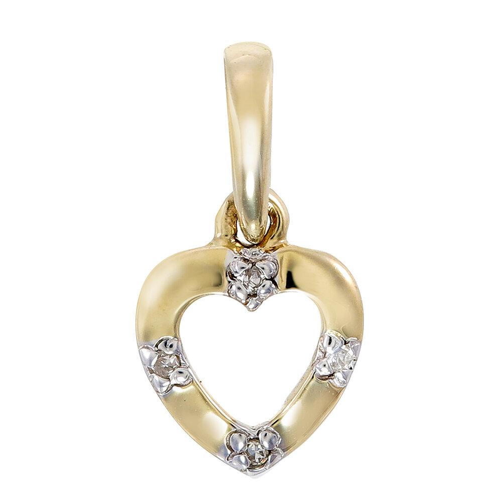 Pendentif coeur  en or jaune 10K & diamant totalisant 2 pts