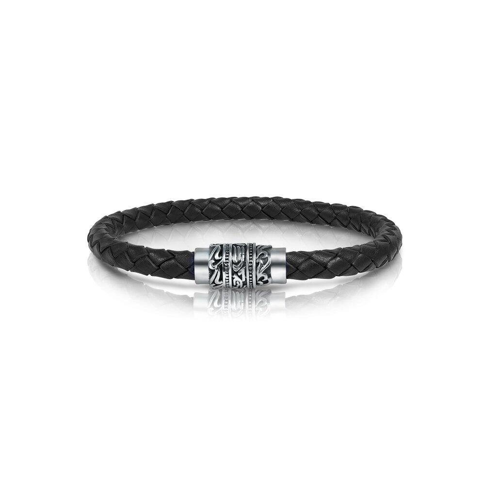 Bracelet - Cuir noir tressé & Acier inoxydable