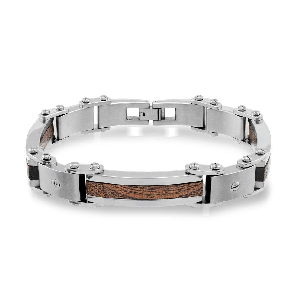 Bracelet pour homme - Acier inoxydable et incrustation de bois finition mate + rallonge