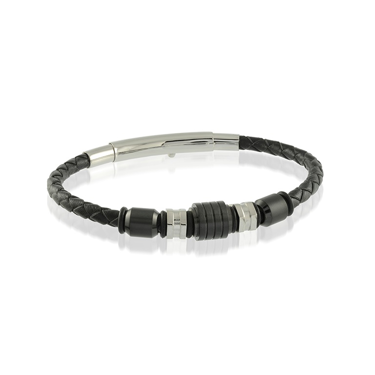 Bracelet for man - Stainless steel & Black braided leather