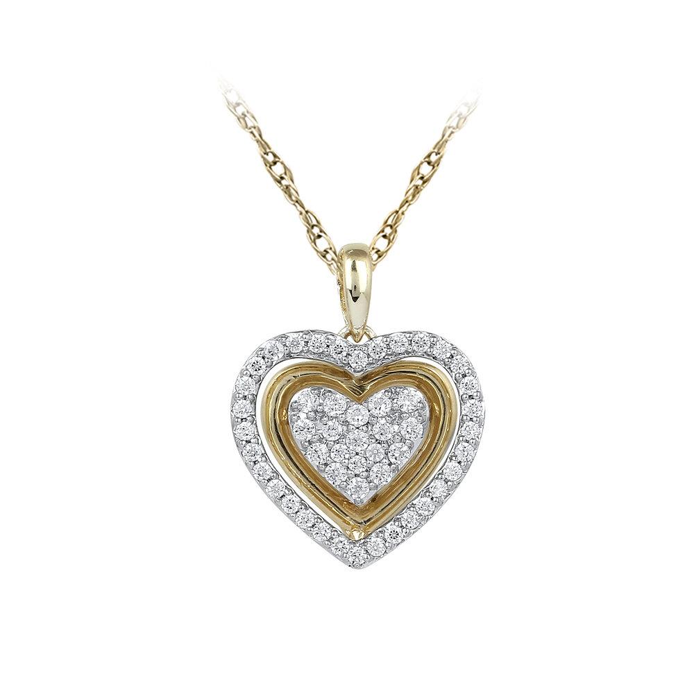 Pendentif coeur pour femme - Or jaune 10K & Diamants totalisant 25pts