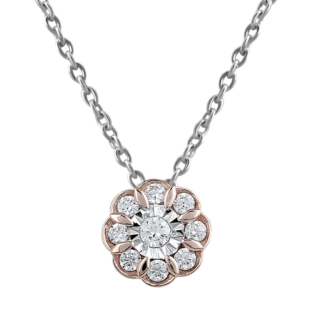 Pendentif fleur pour femme - Or rose 10K & Diamants totalisant 13pts