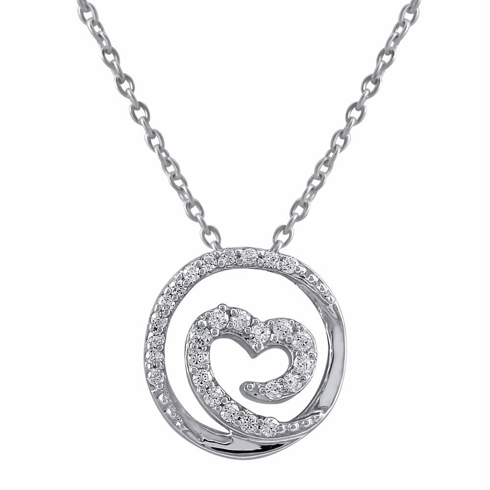 Pendentif coeur pour femme - Or blanc 10K & Diamants totalisant 13pts