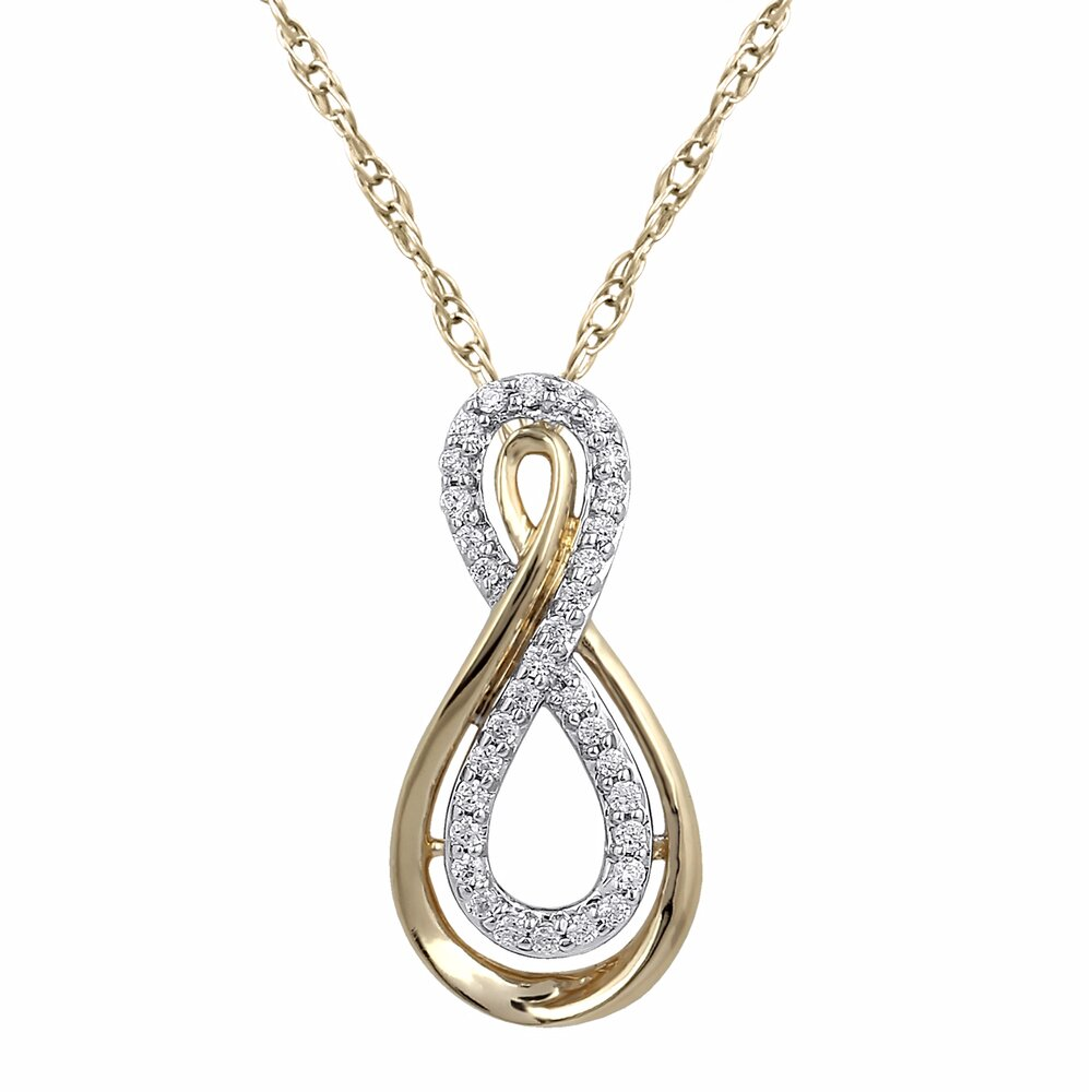 Pendentif infini pour femme - Or jaune 10K & Diamants totalisant 10pts