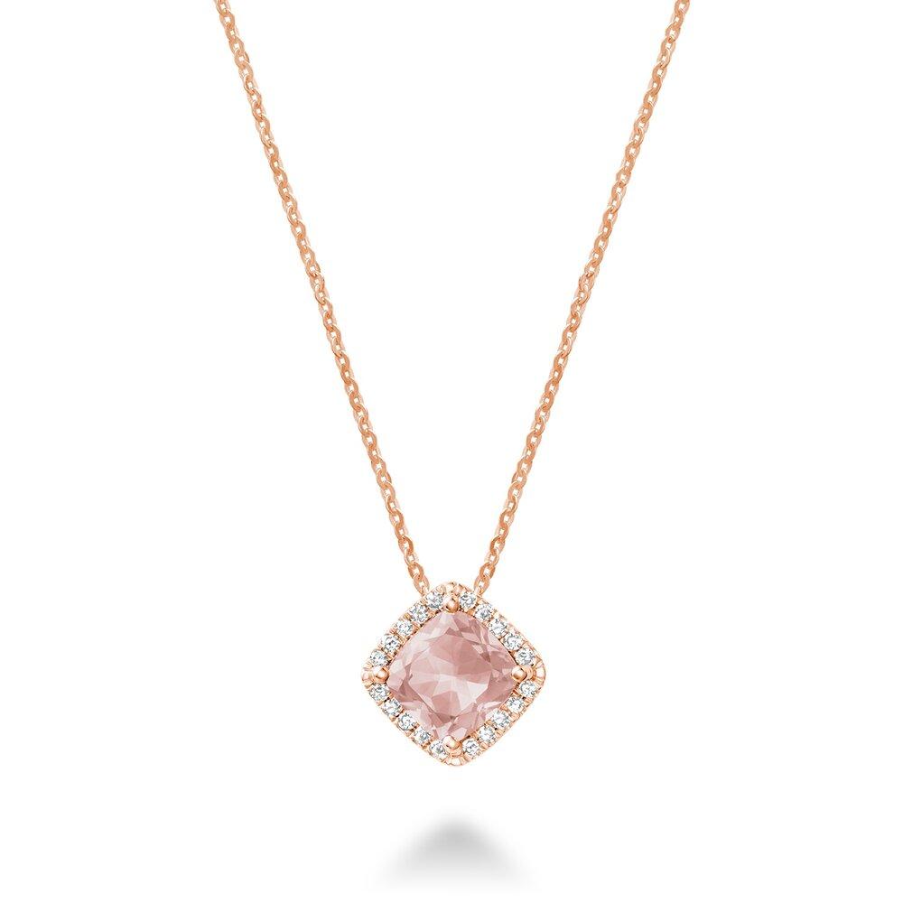 Pendentif  Morganite pour femme avec diamant totalisant 6pts.