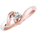Lady's ring with a diamond 0.08 Carat T.W. Clarity:I Color:GH - in 10K 2-tone Gold (pink and white)