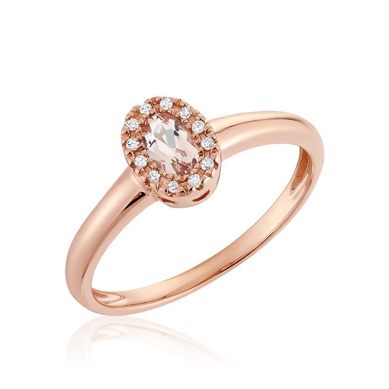 Morganite ring for women with diamond totaling 3pts.