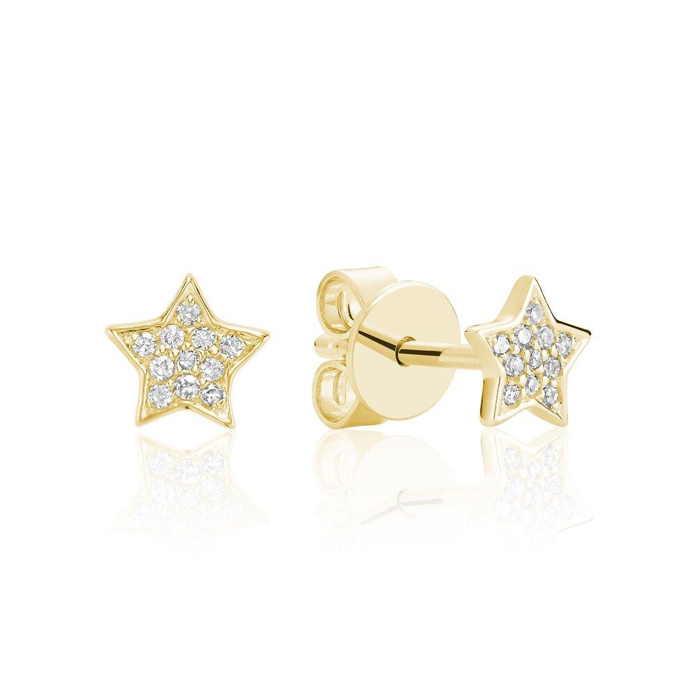 Boucles d'oreilles en forme d'étoile pour femme - or  jaune 10K & diamants totalisant 7pts