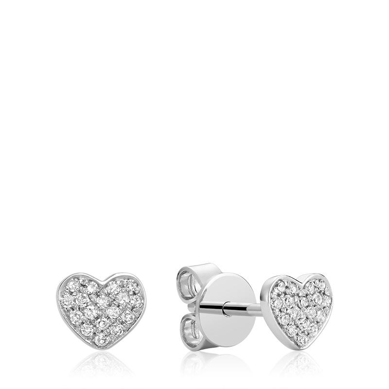 Boucles d'oreilles cœur pour femme - Or blanc 10k & diamants totalisant 11pts