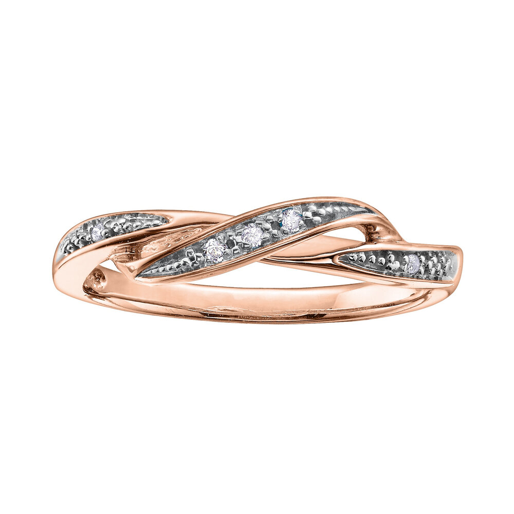 Ring with diamonds 0.03 Carat T.W. - In 10K rose gold