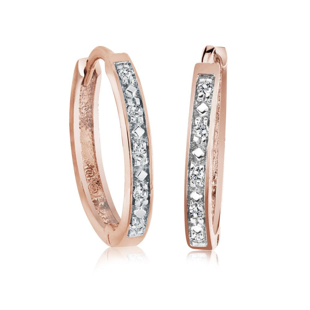 Boucles d'oreilles Anneaux - Or rose 10K & Diamants totalisant 0.05 Carat