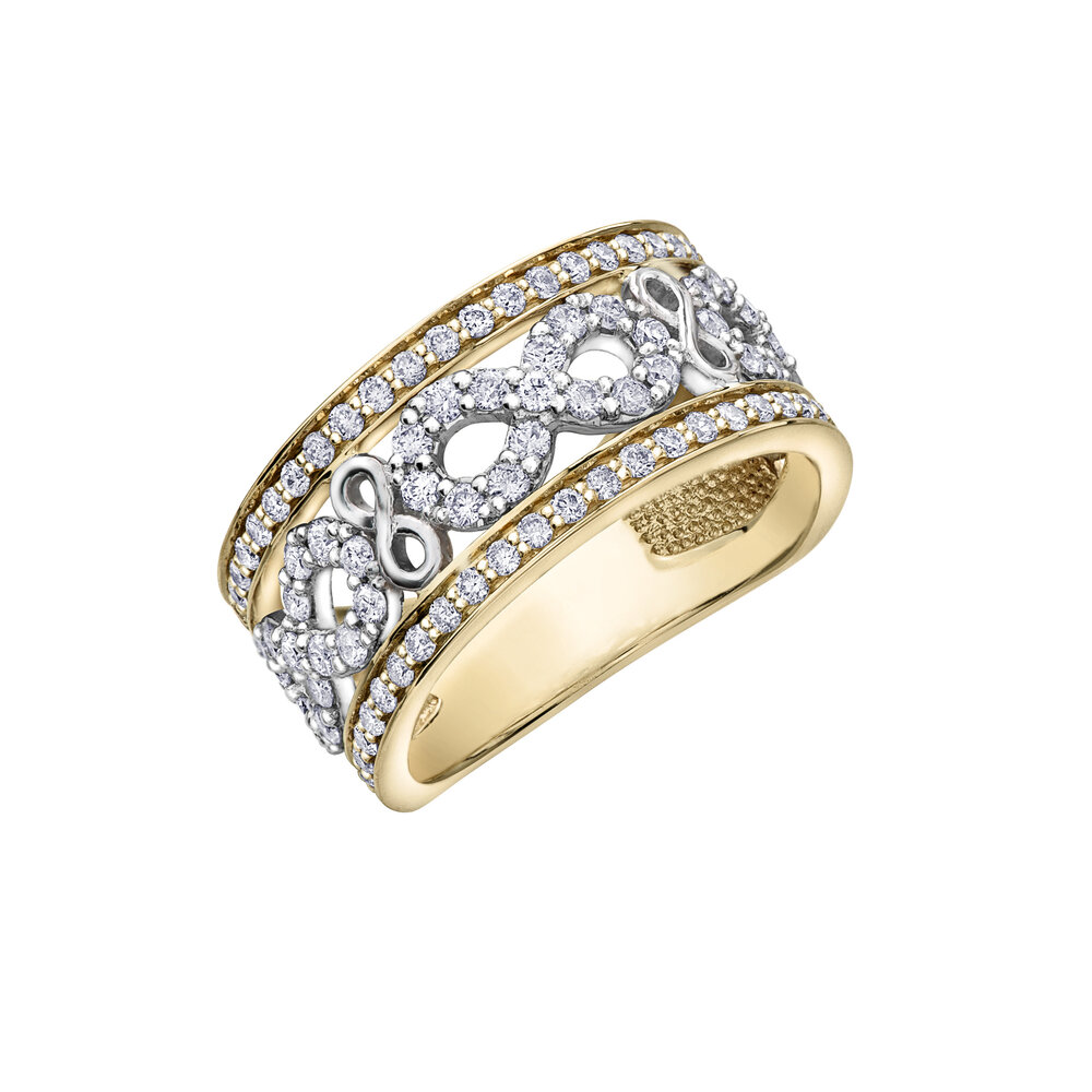 Anniversary ring for women- 2-tons yellow and white 10k gold & diamonds T.W. 1.00ct