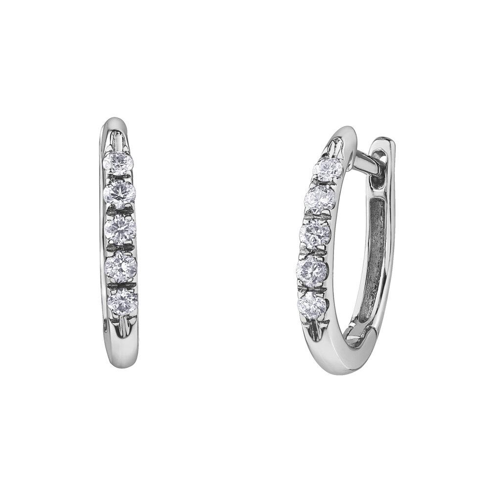 Hoop earrings - 10K white Gold & Diamonds T.W. 15pts.