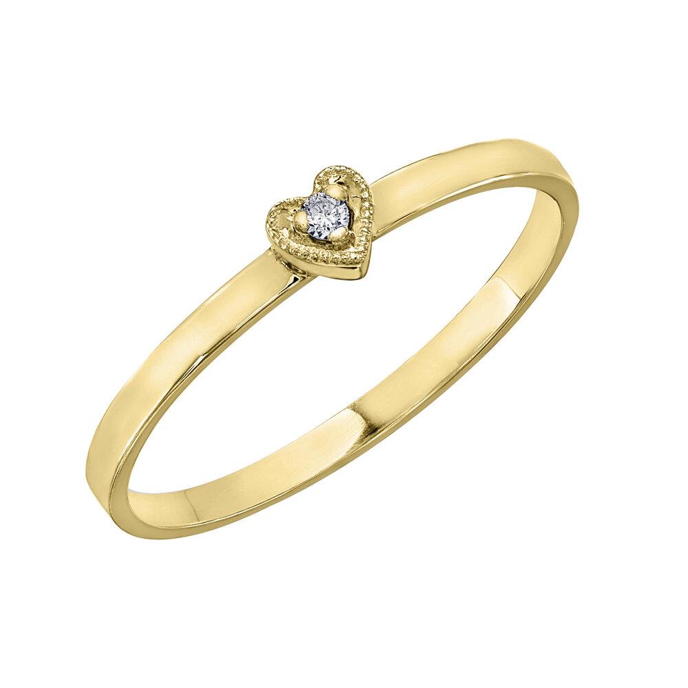 Bague cœur pour femme - or jaune10K & diamants totalisant 1.5pts