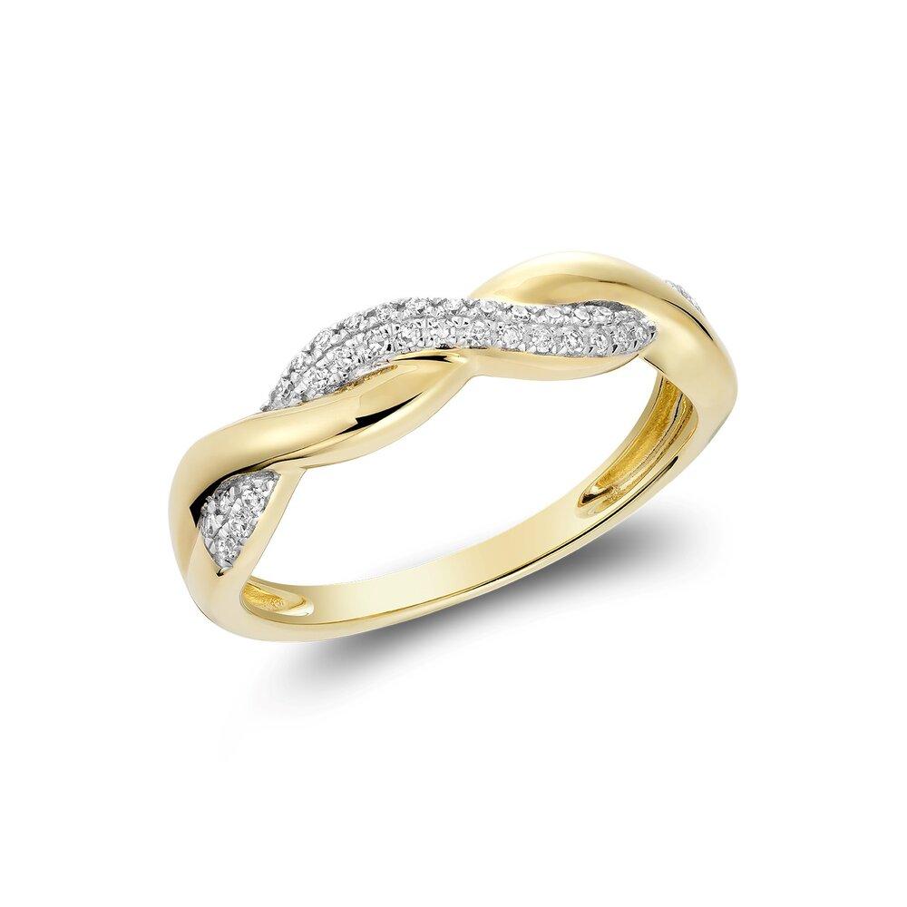 Bague pour femme en or jaune 10k & diamants totalisant 10pts.