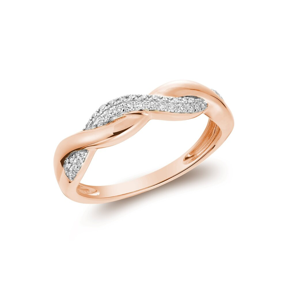 Ring for women in rose gold 10k & diamonds T.W. 10pts.