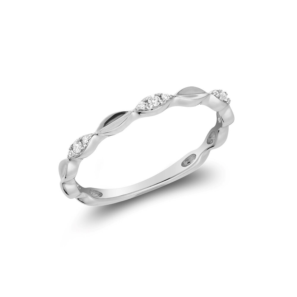 Ring for women 10k white gold & diamonds T.W. 5pts