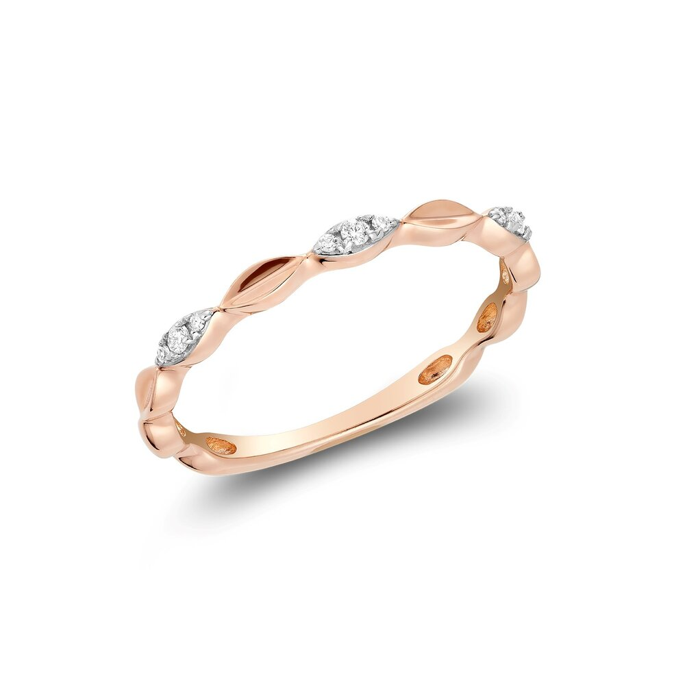Ring for women 10k rose gold & diamonds T.W. 5pts