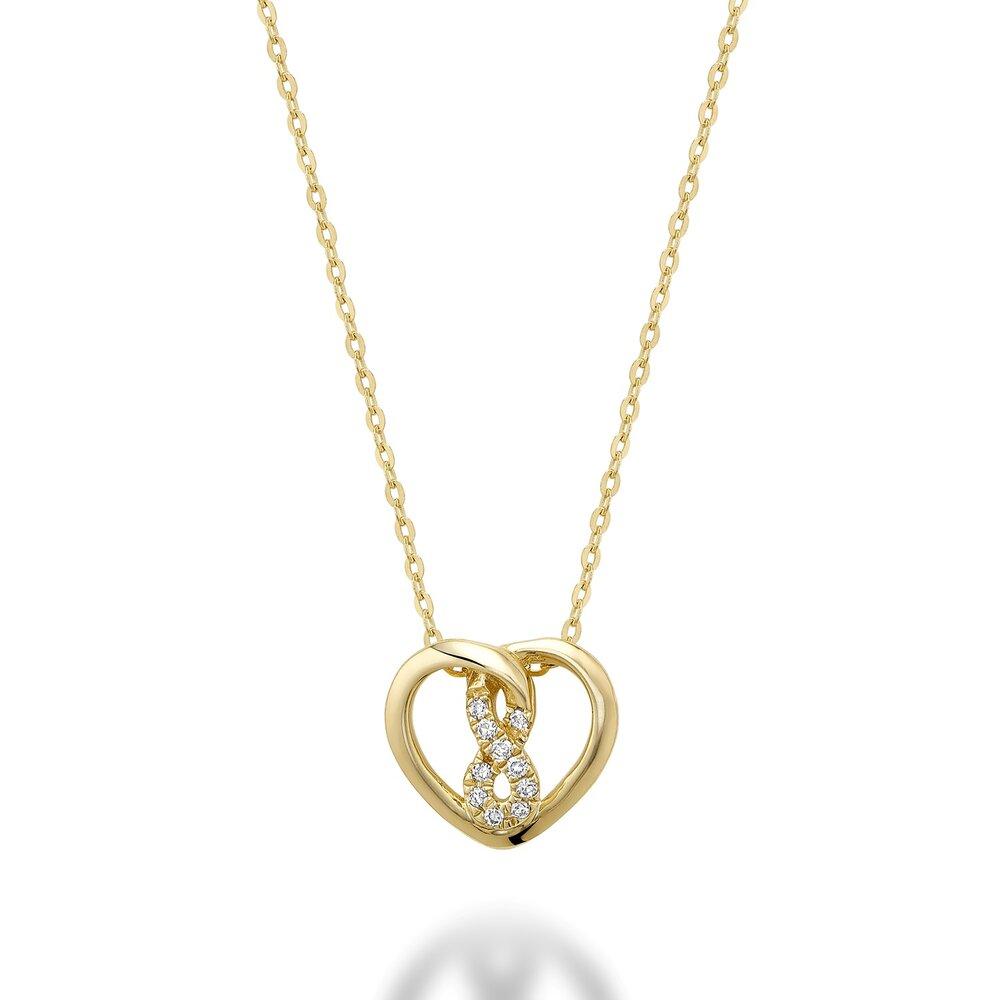 Pendentif cœur avec symbole infini pour femme - Or jaune 10K & diamants totalisant 3pts
