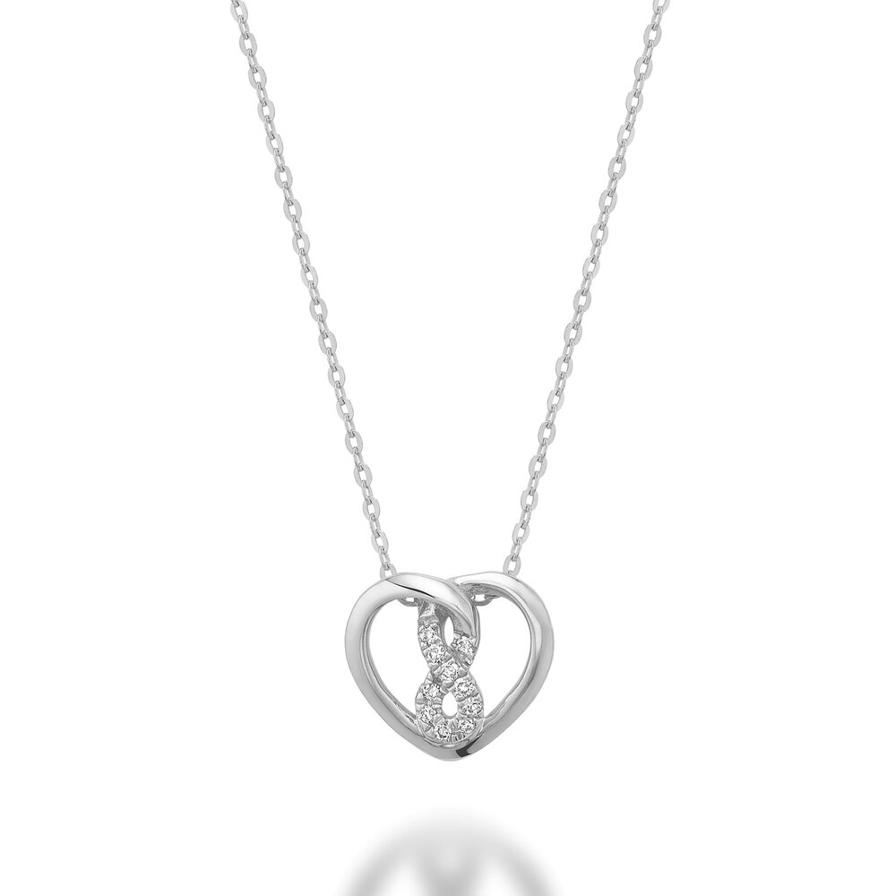Heart pendant with infinity symbol for woman - 10K white gold & Diamonds T.W. 3pts
