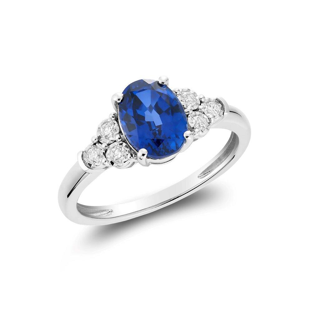 Bague pour femme - Or blanc 10K & diamants totalisant 10pts & saphirs